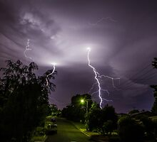 Lightning over suburbia  by Justinlrg78