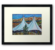 Oil Pastels Sketch. Shoreline Amphitheater. Mountain View, California Framed Print