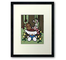 Teddy Bear and Bunny - Goodbye Kitty Framed Print