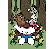 Teddy Bear and Bunny - Goodbye Kitty Photographic Print