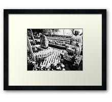 Black and White Buddha Statues Framed Print