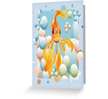 Blowing Bubbles With A Cute Fantail Goldfish Greeting Card