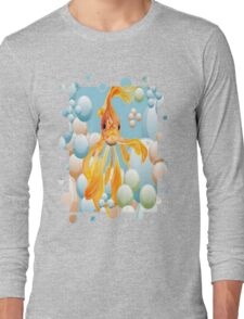 Blowing Bubbles With A Cute Fantail Goldfish Long Sleeve T-Shirt