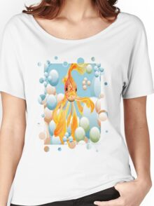 Blowing Bubbles With A Cute Fantail Goldfish Women's Relaxed Fit T-Shirt