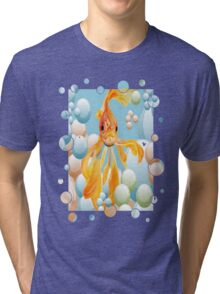 Blowing Bubbles With A Cute Fantail Goldfish Tri-blend T-Shirt