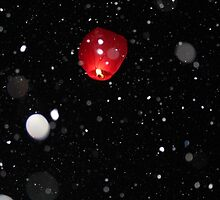 Sky Lantern in the snow by Karen Harris