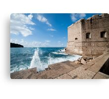 Dubrovnik Pier and Fortification Canvas Print