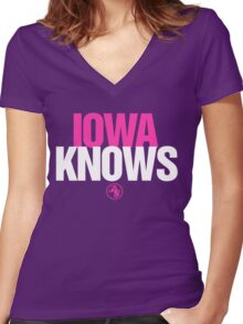 Discreetly Greek - IOWA Knows- Nike Parody Women's Fitted V-Neck T-Shirt