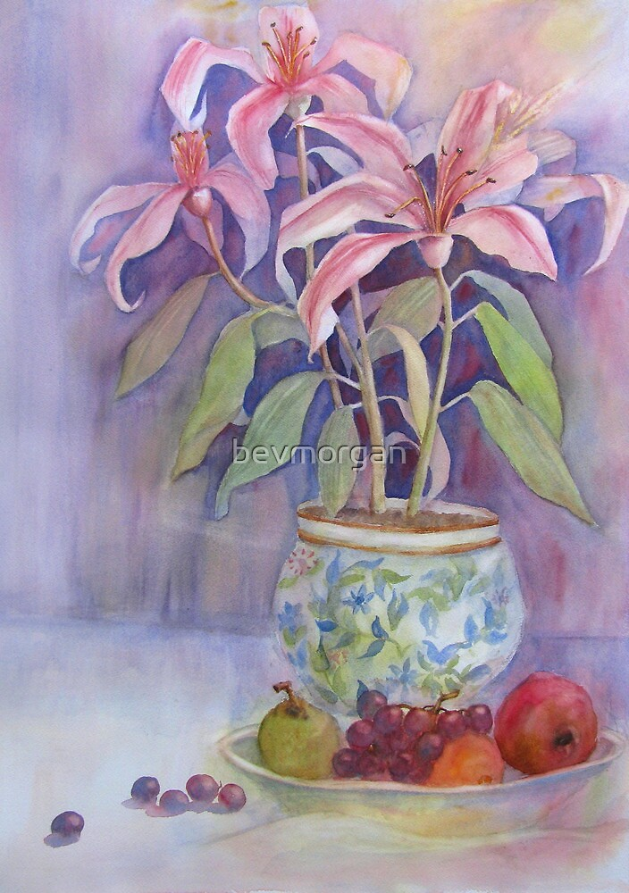 Potted Lilies with Fruit by bevmorgan