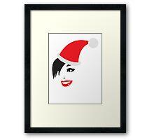 Cut sassy Christmas Santa hat lady Framed Print