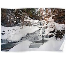 All of Huron Falls In Winter White Poster