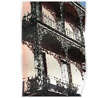 New Orleans French Quarter Balcony Colors Louisiana Artwork Poster