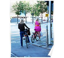 Blonde Cyclists in Helsinki Poster