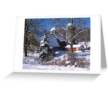 Barn Rural Farm Life Scene Poster Print And Card Greeting Card