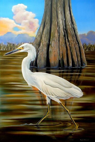 Snowy Egret and Cypress Tree by Phyllis Beiser