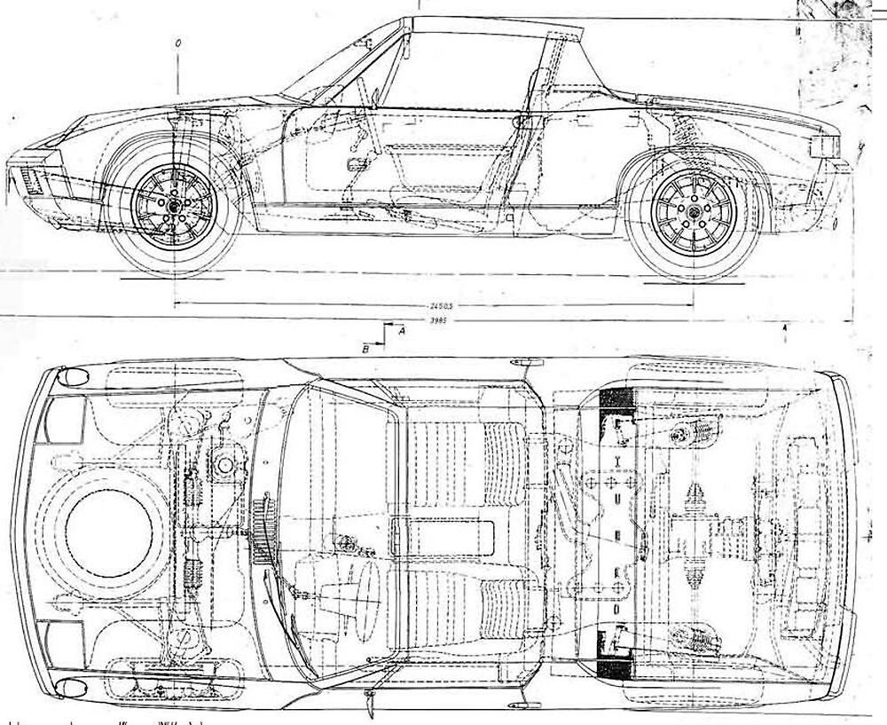 u0026quot porsche 914 car automobile blueprint poster print and