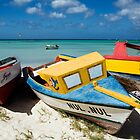 Caribbean Boats in Aruba by George Oze