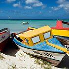 Caribbean Boats in Aruba by George Oze