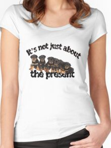 It's Not Just About The Present Rottweiler Christmas Message Women's Fitted Scoop T-Shirt