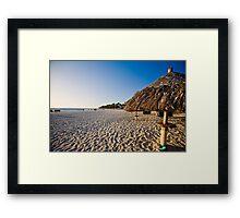 Beach with Palapa in Aruba Framed Print
