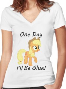 "Apple Jack ""One Day Ill Be Glue:  Women's Fitted V-Neck T-Shirt"