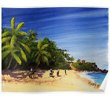 """Domes Beach by Horseback"" Rincon, Puerto Rico Poster"