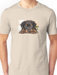 Female Rottweiler Puppy, Head Resting Between Paws Unisex T-Shirt