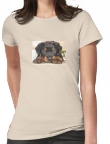 Female Rottweiler Puppy, Head Resting Between Paws Womens Fitted T-Shirt