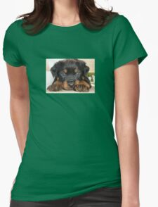 Female Rottweiler Puppy, Head Resting Between Paws T-Shirt