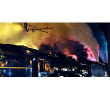Steam train at night Photographic Print