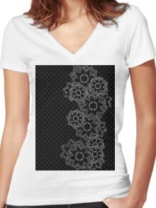 Polka Dot and Flowers Decoration Women's Fitted V-Neck T-Shirt
