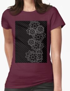 Polka Dot and Flowers Decoration Womens Fitted T-Shirt