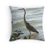 Wading Great Blue Heron Throw Pillow
