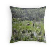 Sandhill Crane Habitat Throw Pillow