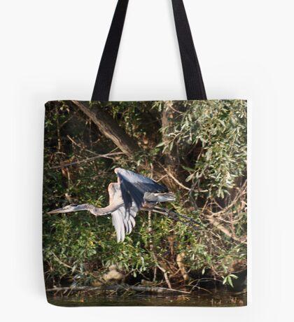 Great Blue Heron Flying Tote Bag