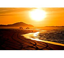 Beach highway sunset (Moreton Island, Australia) Photographic Print