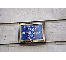 Tilers & bricklayers Hall sign Photographic Print