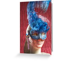 Woman sculpture with blue venetian mask HDR version Greeting Card