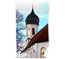 Clocktower Pilgrimage Church Hohenpeissenberg Poster