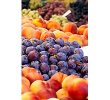 Peaches And Damson Plums  Photographic Print