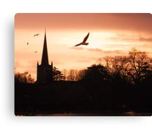 Sunset over the river. Canvas Print