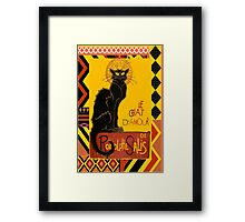 Le Chat D'Amour With Ethnic Coloured Border Framed Print
