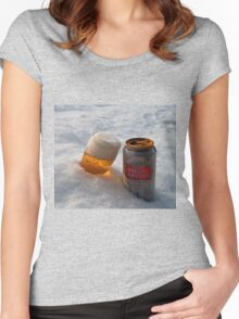Beer in the snow Women's Fitted Scoop T-Shirt