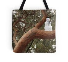 Snowman Climbed Tree Tote Bag