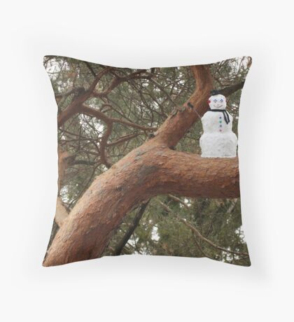 Snowman Climbed Tree Throw Pillow