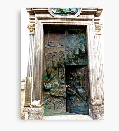 Doors of Saint Nicholas' Cathedral, Ljubljana, Slovenia Canvas Print