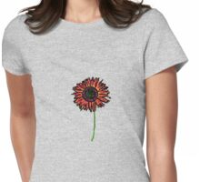 Red Himawari - Zen Sunflower Womens Fitted T-Shirt