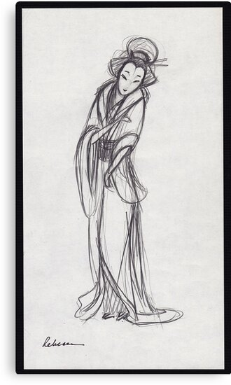 Lovely Geisha - graphite pencil sketch by Rebecca Rees