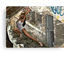 Whitney's graceful curve matched that of the deralict stairway. Metal Print