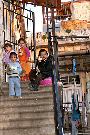 Two Boys and Two Girls - Safed, Israel by Mary Ellen Garcia